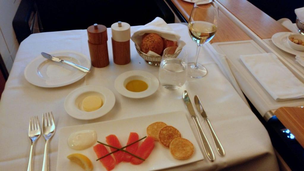 Swiss First Class Boeing 777 Dinner 7