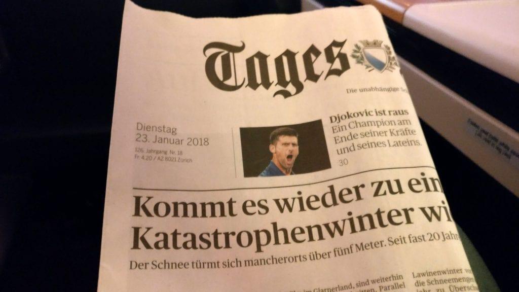 Swiss First Class Boeing 777 Newspaper