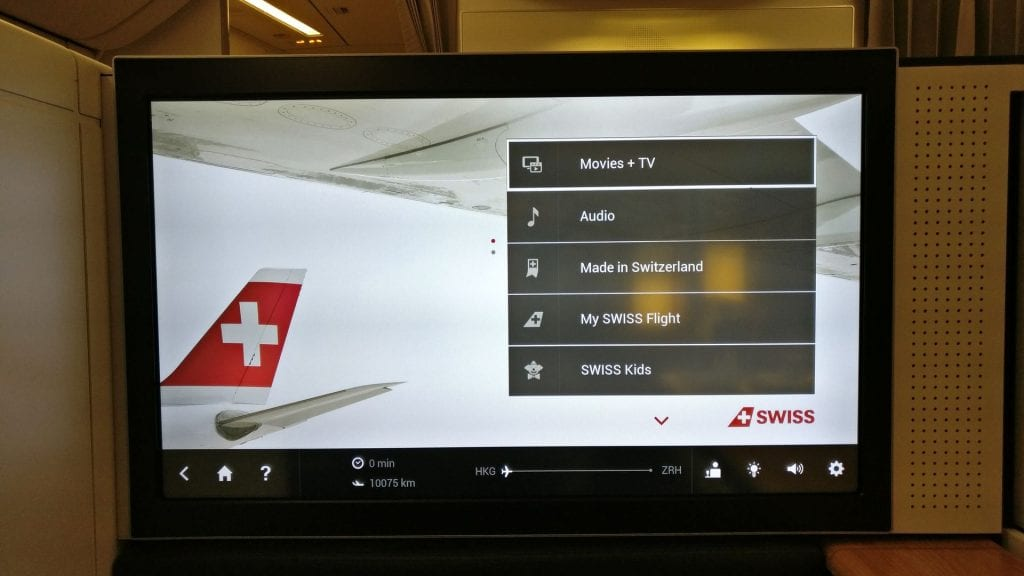 Swiss First Class Boeing 777 Seat Entertainment 2