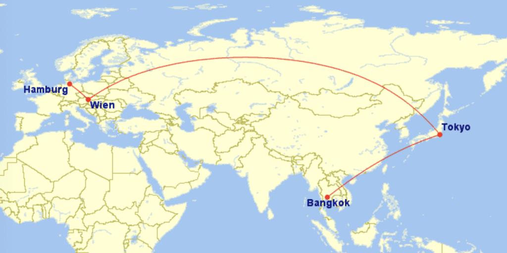 Anreise Austrian Thai Airways Bangkok