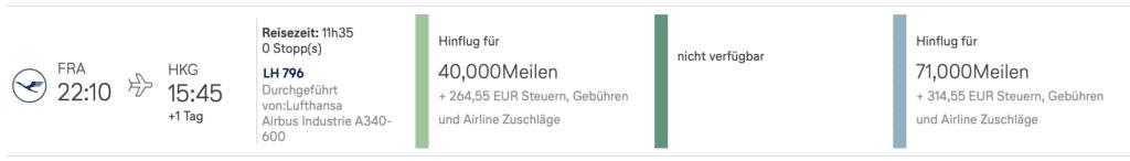 M&M Prämienflug Beispiel