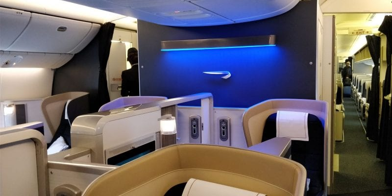 British Airways First Class Boeing 777 Kabine hintere Reihe