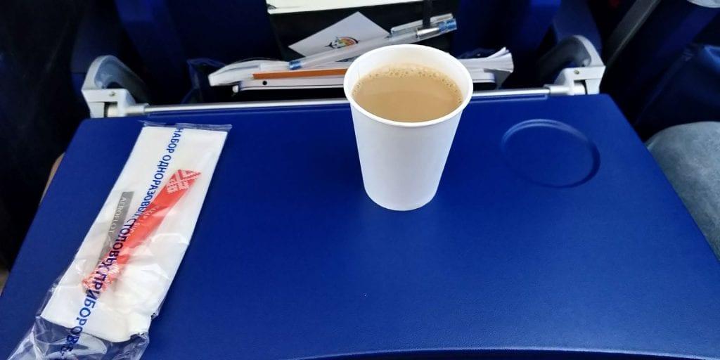 Aeroflot Economy Class Airbus A320 Kaffee Snack
