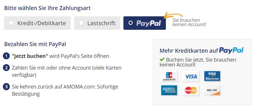 Amoma Buchung ohne Kreditkarte