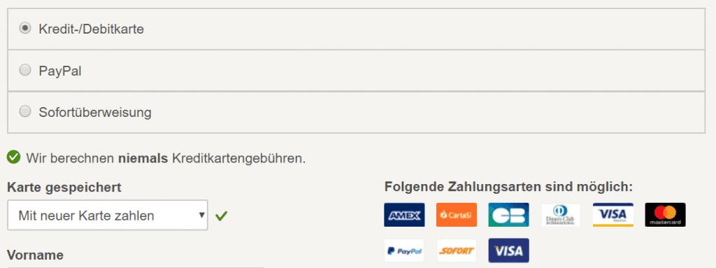 Hotels.com Zahlungsweisen