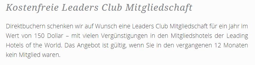 Kostenfreie Leaders Club Mitgliedschaft