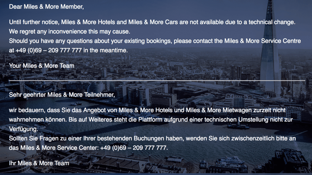 miles and more hotels beendet
