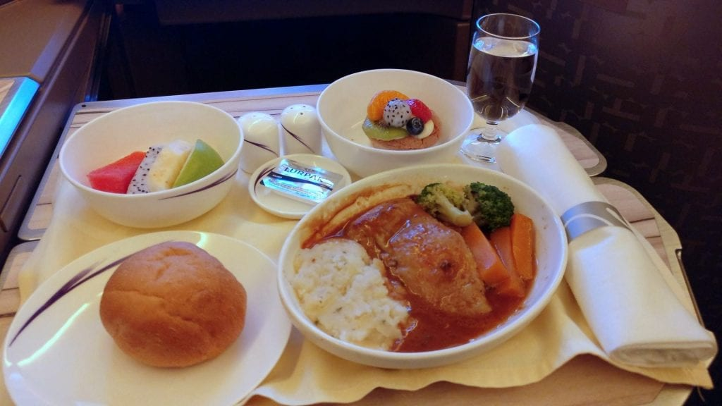 China Airlines Business Class Airbus A350 Dinner 5