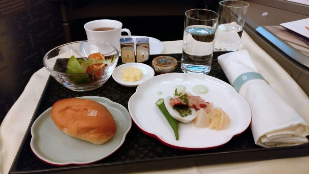 China Airlines Business Class Dinner