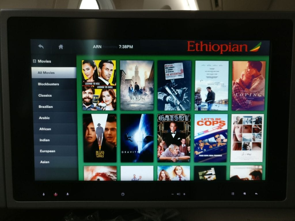 Ethiopian Airlines Business Class Boeing 787 Entertainment 2
