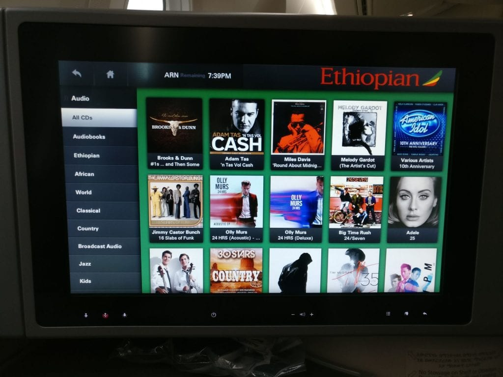Ethiopian Airlines Business Class Boeing 787 Entertainment 4