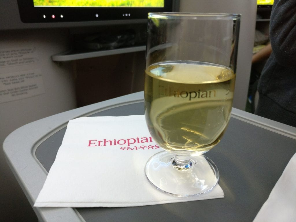 Ethiopian Airlines Business Class Boeing 787 Welcome Drink 2