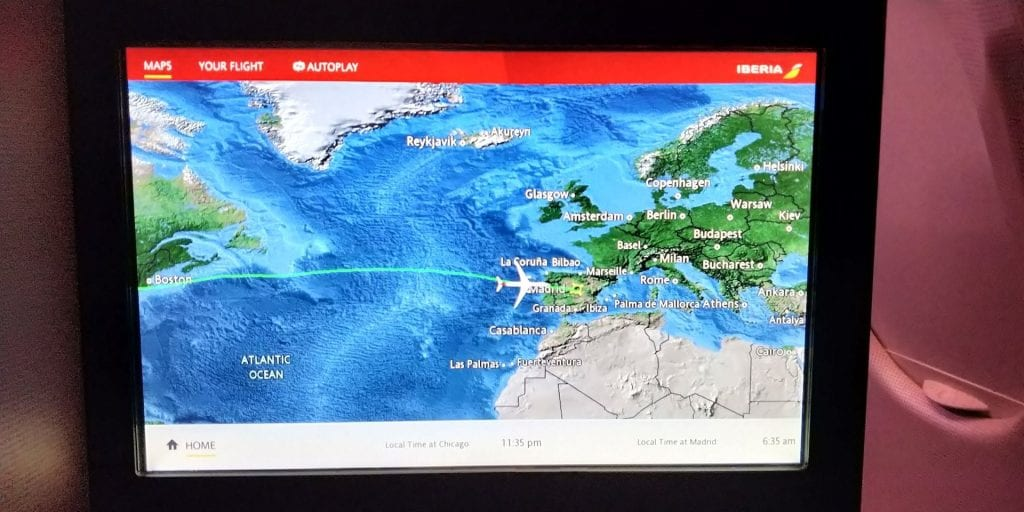 Iberia Business Class Langstrecke Airbus A330 Entertainment Flight Map