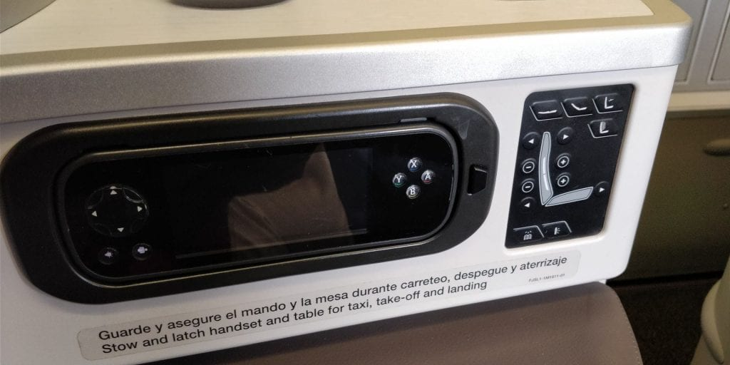 Iberia Business Class Langstrecke Airbus A330 Sitz Control Panel