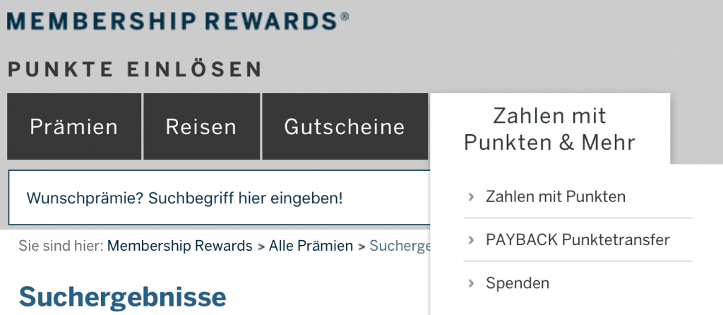 Membership Rewards Punkte In Miles And More Meilen Tauschen Amex Menue