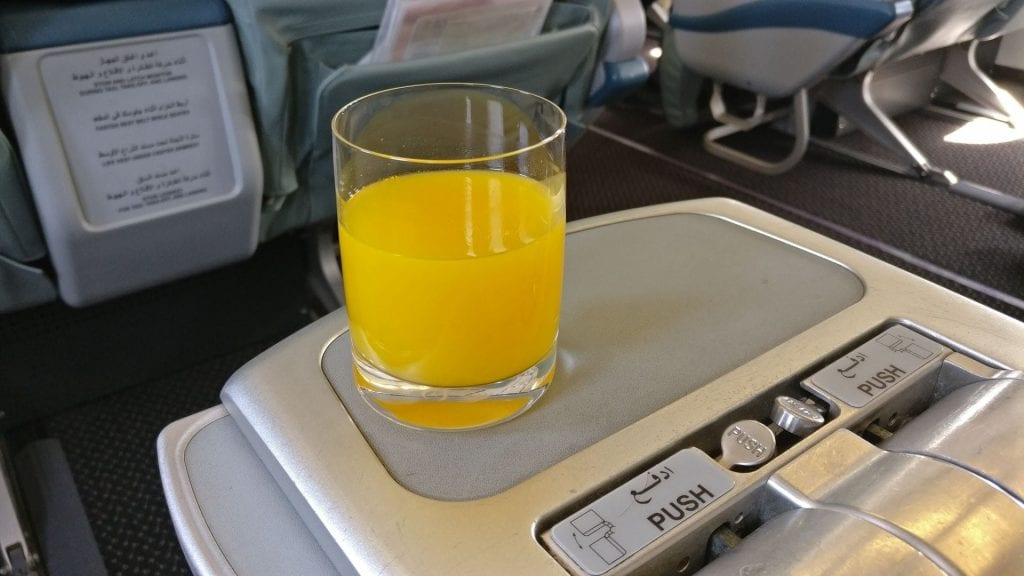 Saudia Business Class Airbus A320 Welcome Drink