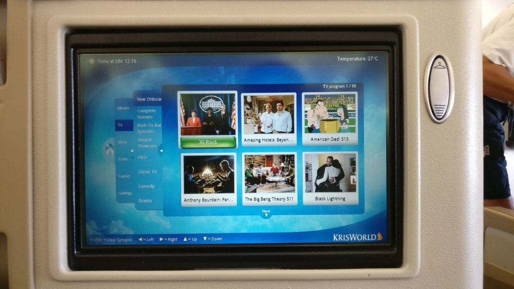Singapore Airlines Business Class Airbus A330 Entertainment 2