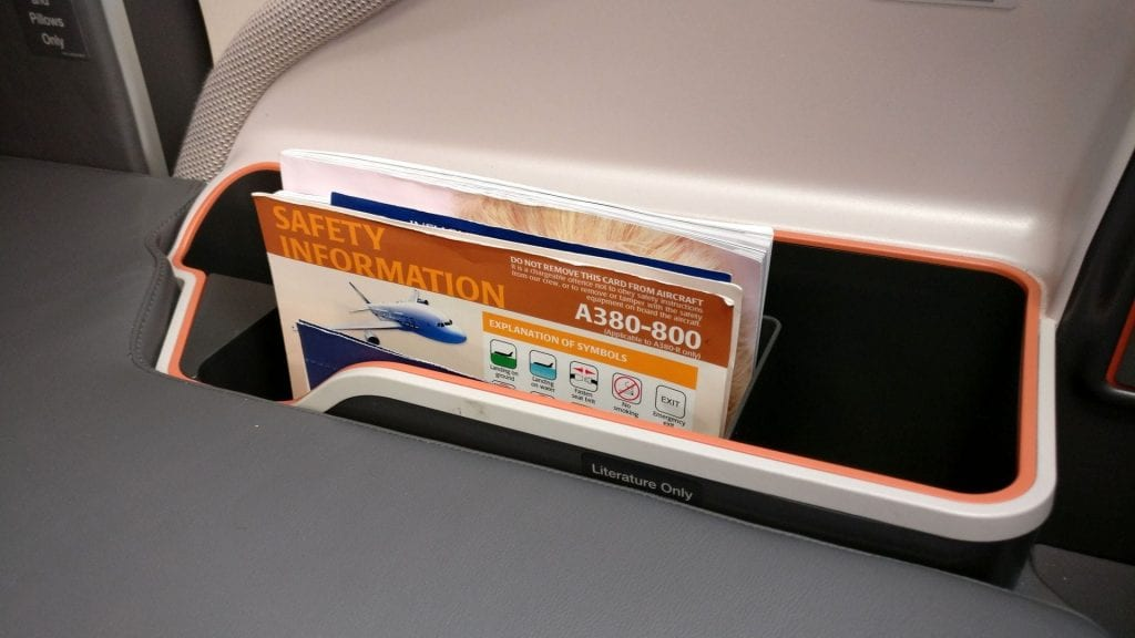 Singapore Airlines Business Class Airbus A380 Sitz 12