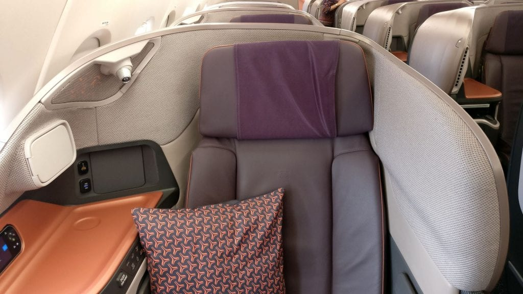 Singapore Airlines Business Class Airbus A380 Sitz 13