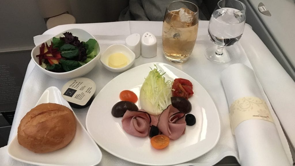 Asiana Business Class Airbus A380 Dinner Vorspeise