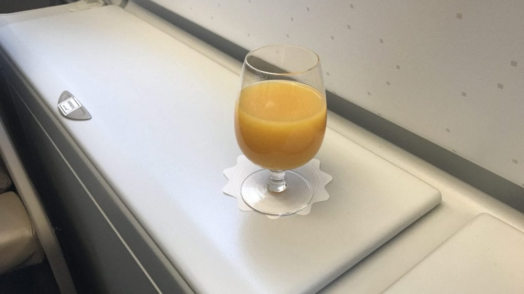 Asiana Business Class Airbus A380 Drink