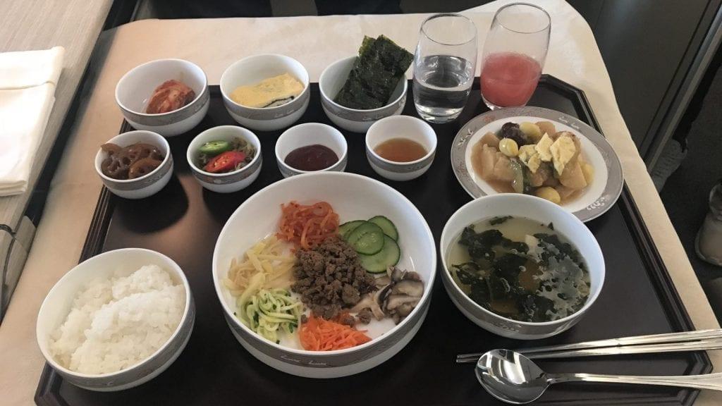 Asiana First Class Airbus A380 Abendessen Koreanisch