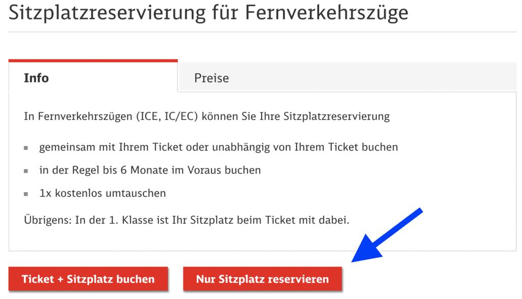 Bahn Sitzplatzreservierung Nur Sitz
