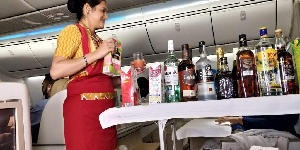Air India Business Class Boeing 787 Alkohol