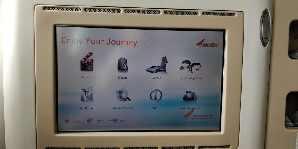 Air India Business Class Boeing 787 Entertainment 1