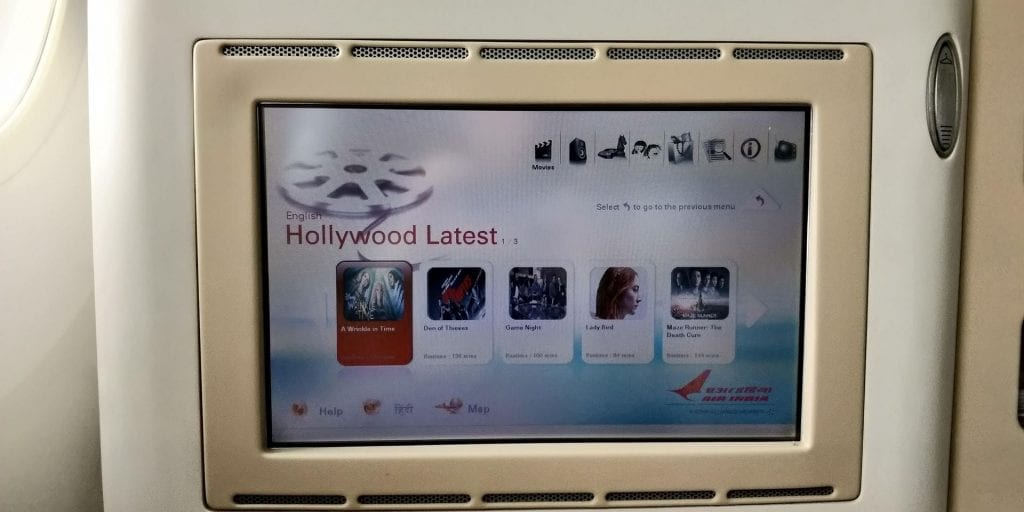 Air India Business Class Boeing 787 Entertainment 2