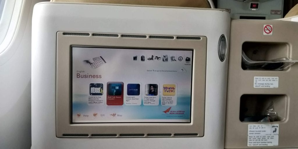 Air India Business Class Boeing 787 Entertainment 3