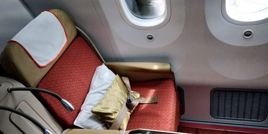 Air India Business Class Boeing 787 Sitz Fenster