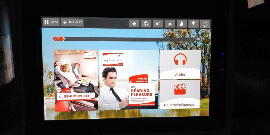Austrian Airlines Business Class Boeing 777 Entertainment System