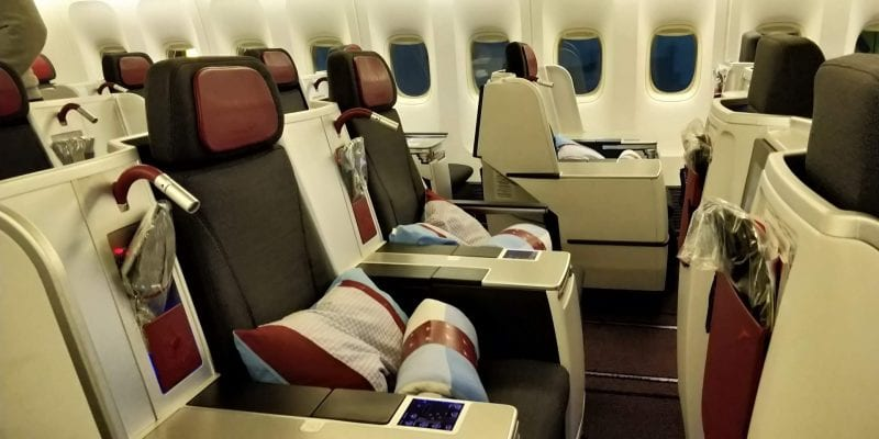 Austrian Airlines Business Class Boeing 777 Sitzplätze Mitte