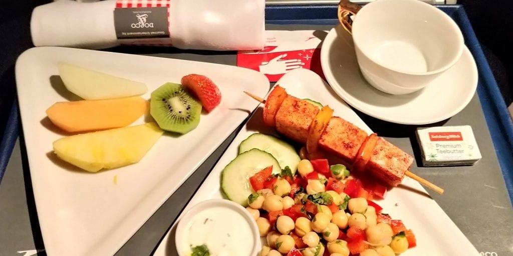 Austrian Airlines Business Class Kurzstrecke A320 Abendessen