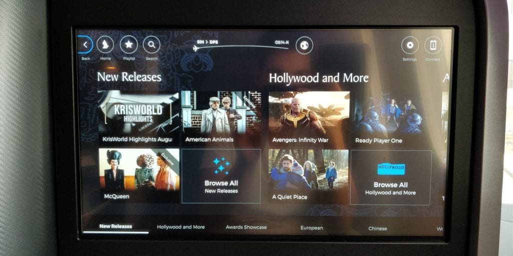 Singapore Airlines Business Class Boeing 787 10 Entertainment