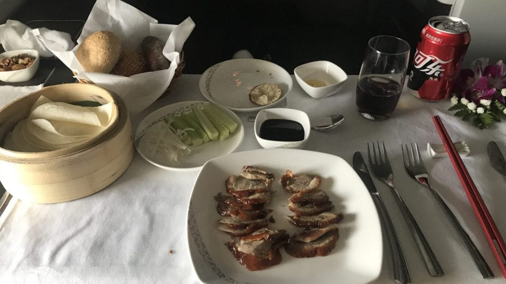 Air China First Class Essen Enten