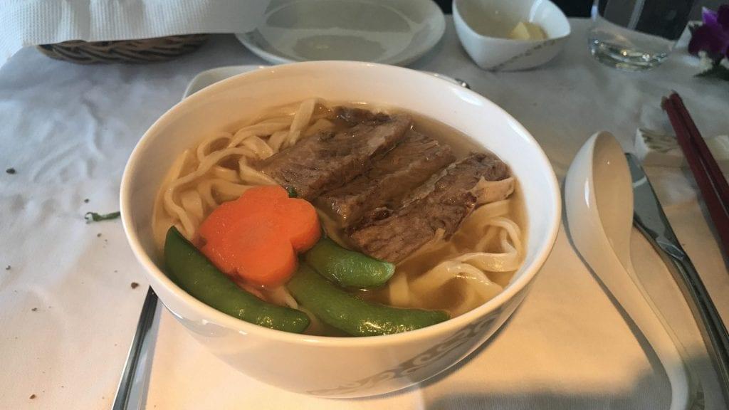 Air China First Class Essen Suppe