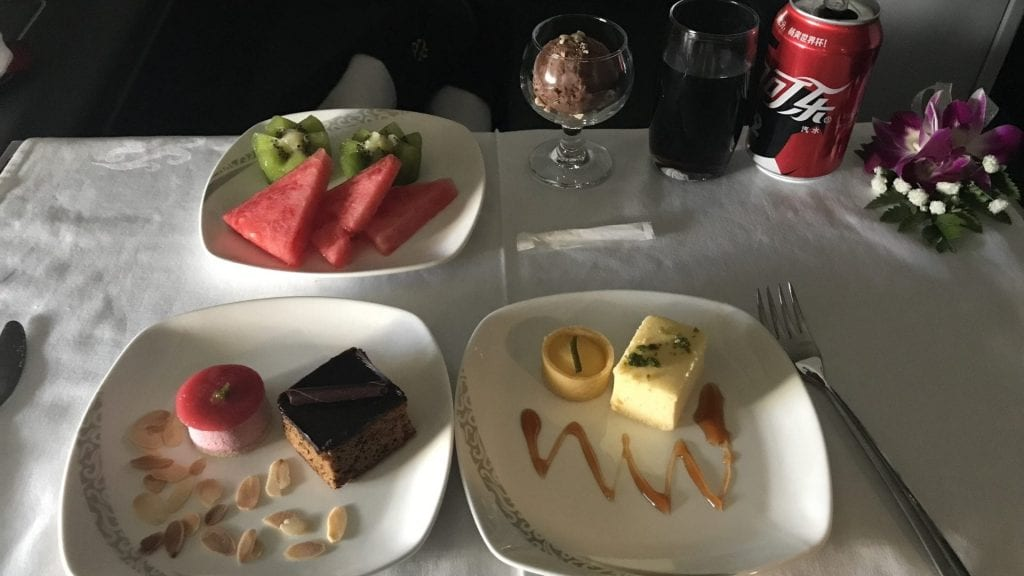 Air China First Class Nachspeise