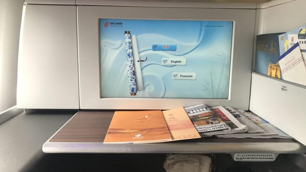 Air China First Class Unterhaltungssystem