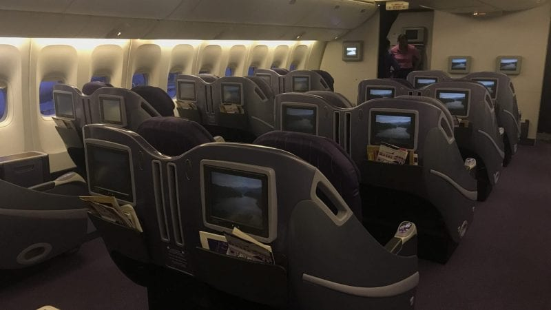 Thai Airways Business Class Boeing 777 Regional Kabine