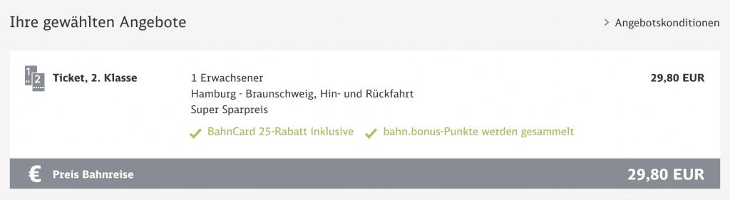 Bahn Super Sparpreis Ticket Hamburg Braunschweig