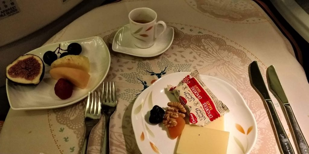 Eva Air Business Class Boeing 777 Essen Dessert