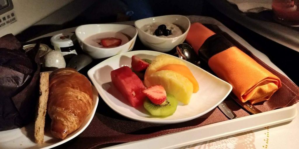 Eva Air Business Class Boeing 777 Frühstück 2