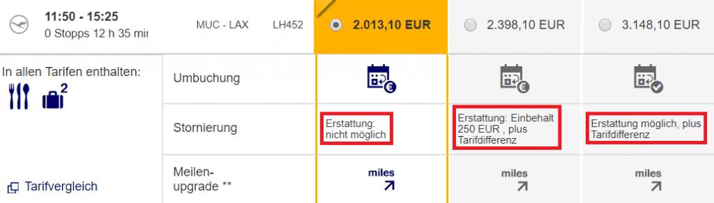 Lufthansa Business Class Tarife