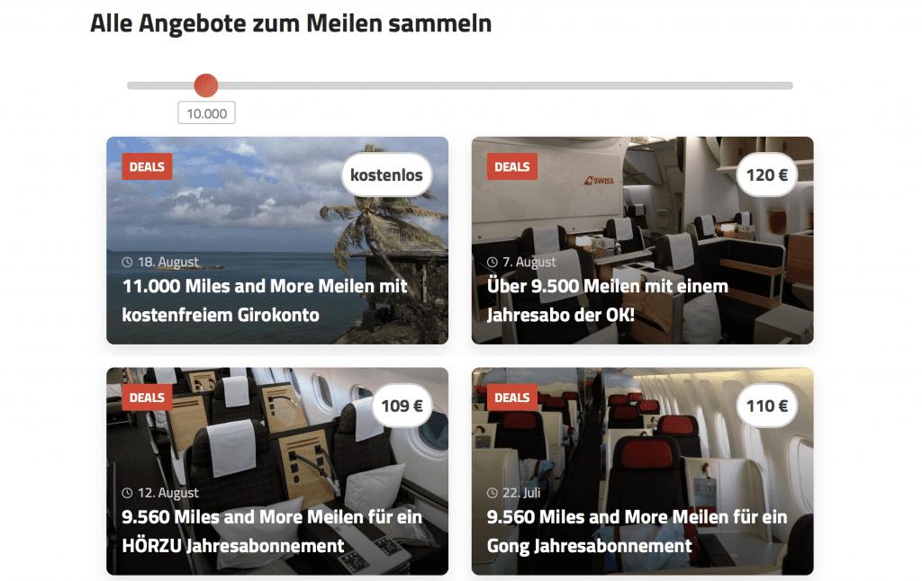 Reisetopia Miles And More Meilenslider Beispiels