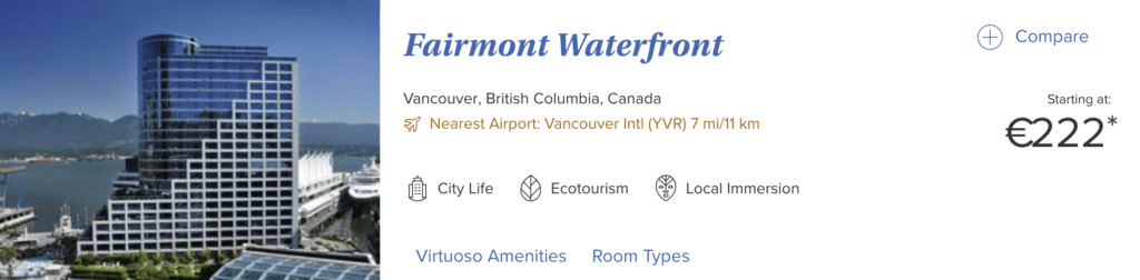 Fairmont Waterfront Virtuoso Buchung