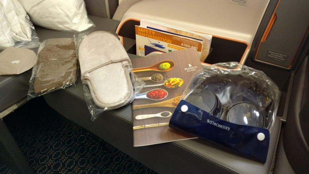 Singapore Airlines Business Class Airbus A380 Annehmlichkeiten