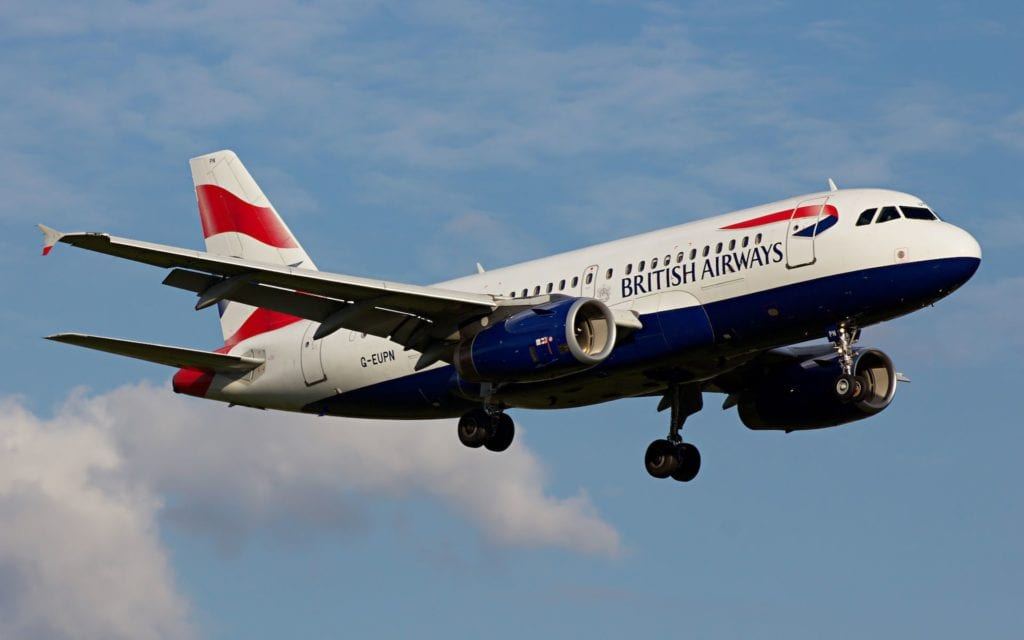 British Airways Airbus A319 anflug slot