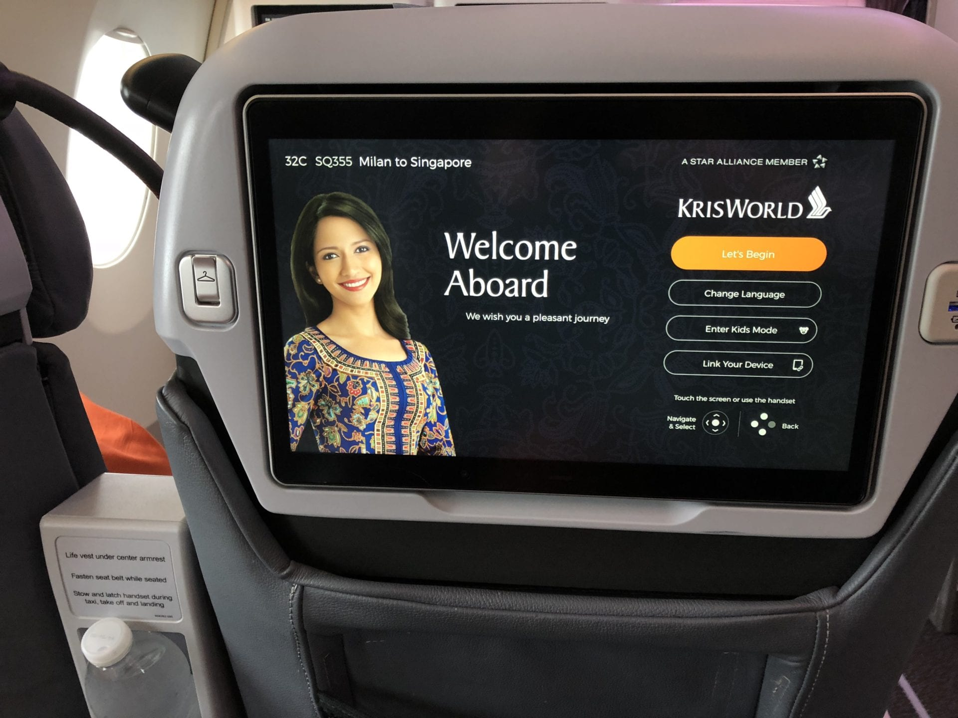 Singapore Airlines Premium Economy Class Inflight Entertainment